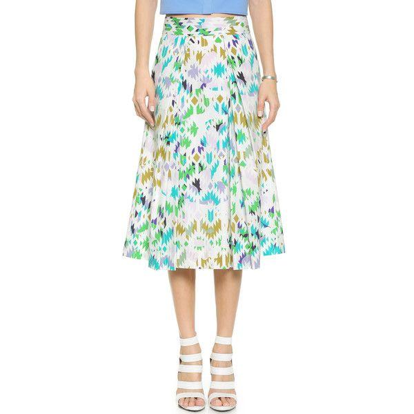 Milly Mosaic Print Lana Midi Skirt (3.747.440 IDR) ❤ liked on Polyvore