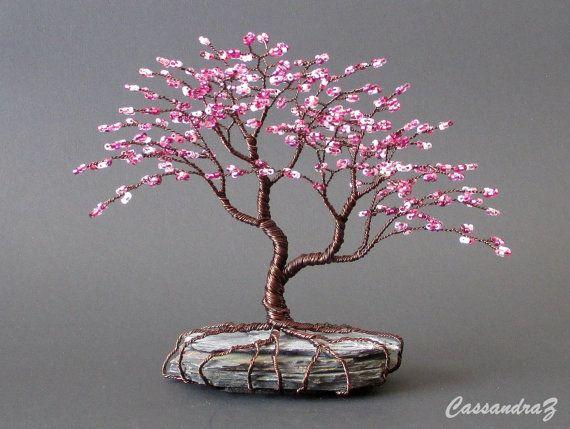 Asimétrica del flor de cereza con cuentas Bonsai Mini Wire