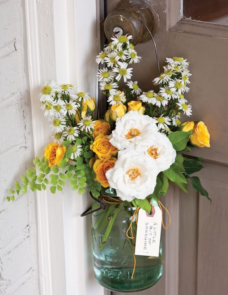 Hanging Jar - Give Flowers: The Best Ways to Leave Doorstep Surprises - Southern Lady Magazine