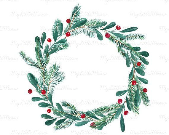 Christmas Watercolor Wreath Clipart Winter Clip Art Winter Etsy In 2021 Christmas Watercolor Wreath Watercolor Wreath Drawing