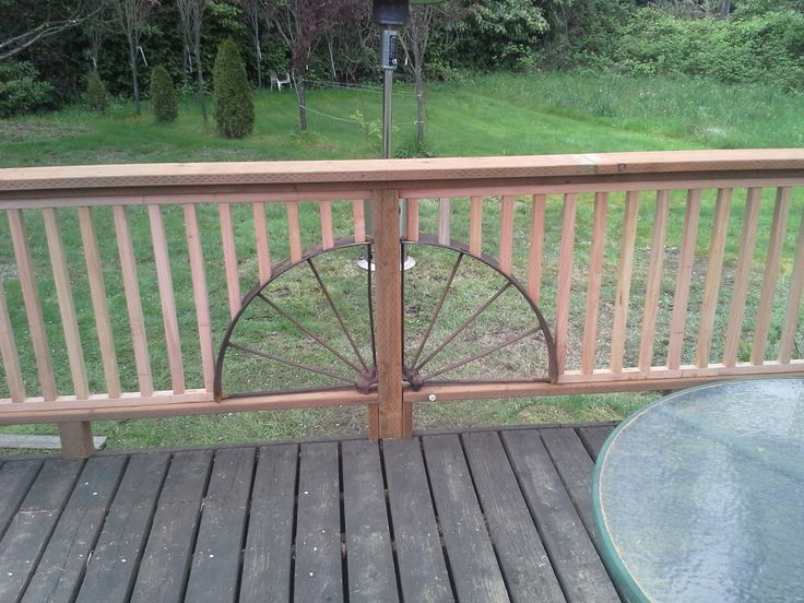 Steel Wagon Wheel I Crafted Into A Deck Railing This Is