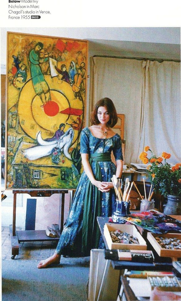 Model Ivy Nicholson posing in Marc Chagall's studio in France.Photo by Mark Shaw for Life magazine, 1955