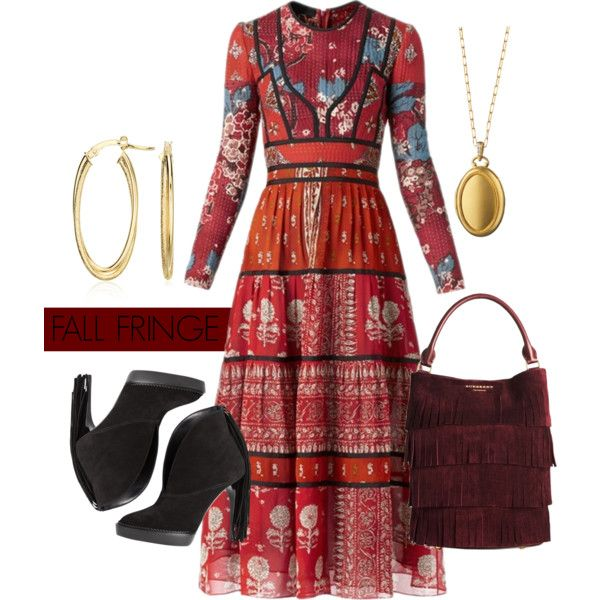 Fall Fringe by bluenile on Polyvore featuring Burberry, Blue Nile, fringe, boho and booties: