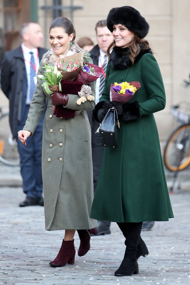 Catherine Duchess of Cambridge in Burberry and Troy London with Her Swedish Counterpart, Princess Victoria