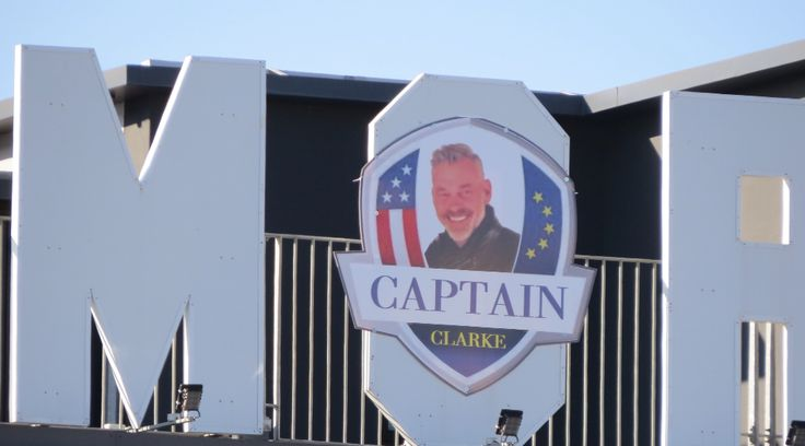 Darren Clarke,Ryder Cup Captain, 2015. Sign at Ramore Restaurant Complex,Portrush.