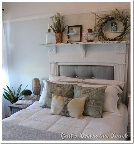 pretty mantel - I may have pinned this already but I have a shelf above our bed that needs an update