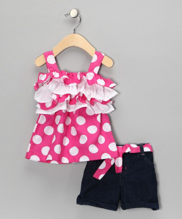 Take a look at this Pink Polka Dot Ruffle Tank & Shorts - Infant on zulily today!