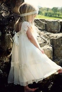 We love the soft pearl and lace details on this vintage-bohemian flower girl dress and headband