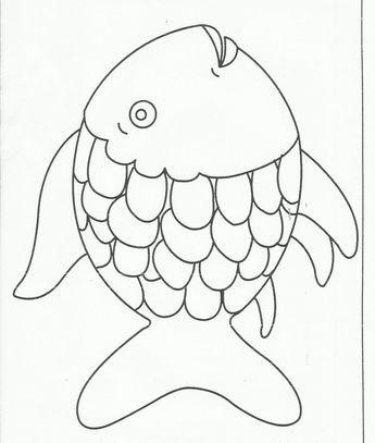 arco iris página de peces para colorear