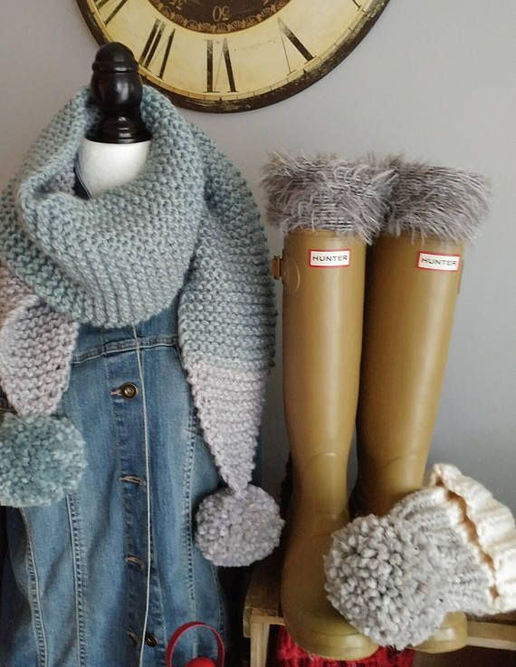 Handmade Chunky  Scarf with oversized Faux Fur Pompoms Gift