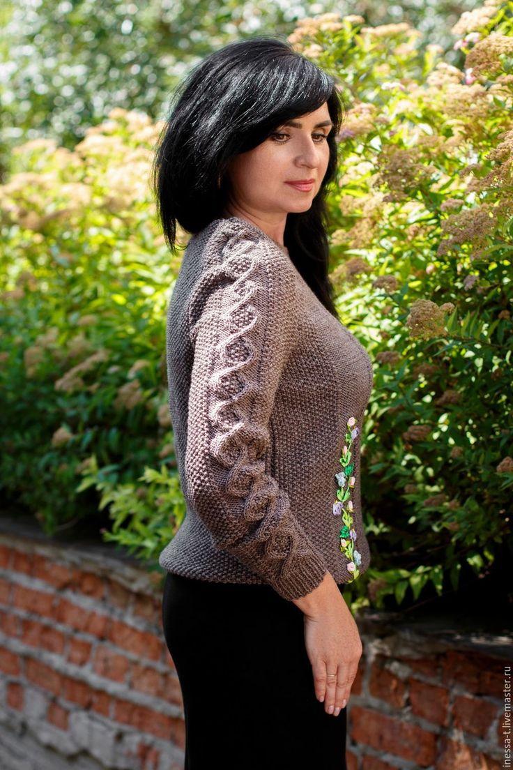 Купить Джемпер с вышивкой Кофе с молоком - однотонный, вязаный свитер, коричневый, Свитер с вышивкой
