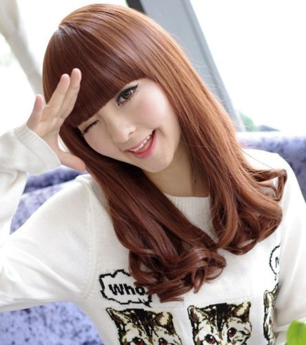 Кк 004456 Леди Женщины Волнистые Длинные Красные Каштановые Волосы Полный Парики Мода Косплей Парик Партии
