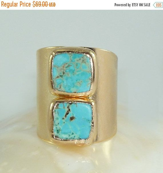 CHRISTMAS SALE Turquoise Gold Ring, Statement Ring, Gemstone Ring, December Birthstone, Turquoise Ring, Adjustable,Turquoise Jewelry By Inba