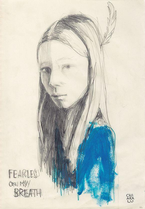 Illustration, Sketch Portrait, Graphite + acrylic on paper.