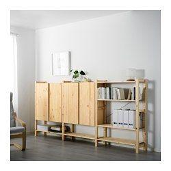 IVAR, 3 section shelving unit w/cabinets, pine