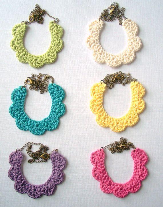 Crochet lace bib necklace on antique brass chain -
