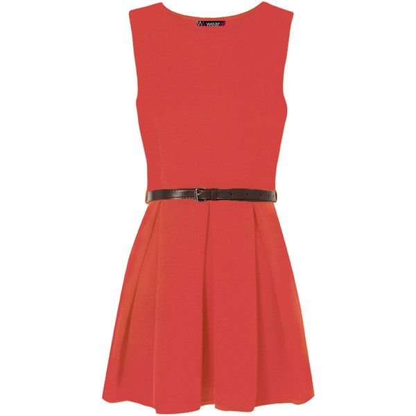 WearAll Belted Skater Dress ($16) ❤ liked on Polyvore featuring dresses, coral, day party dresses, pleated dresses, thin dress, red party dresses and red going out dresses