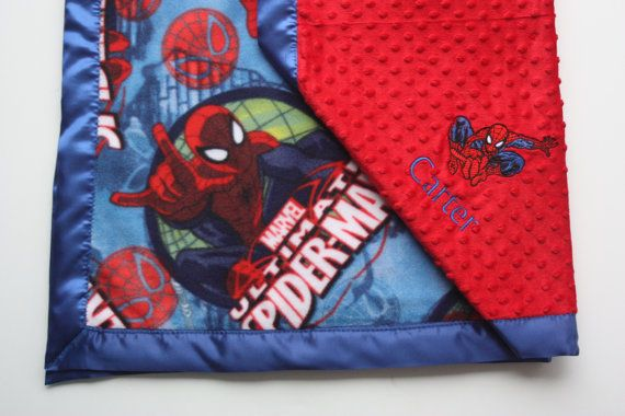 Spiderman Blanket with Spiderman by FourLoves on Etsy