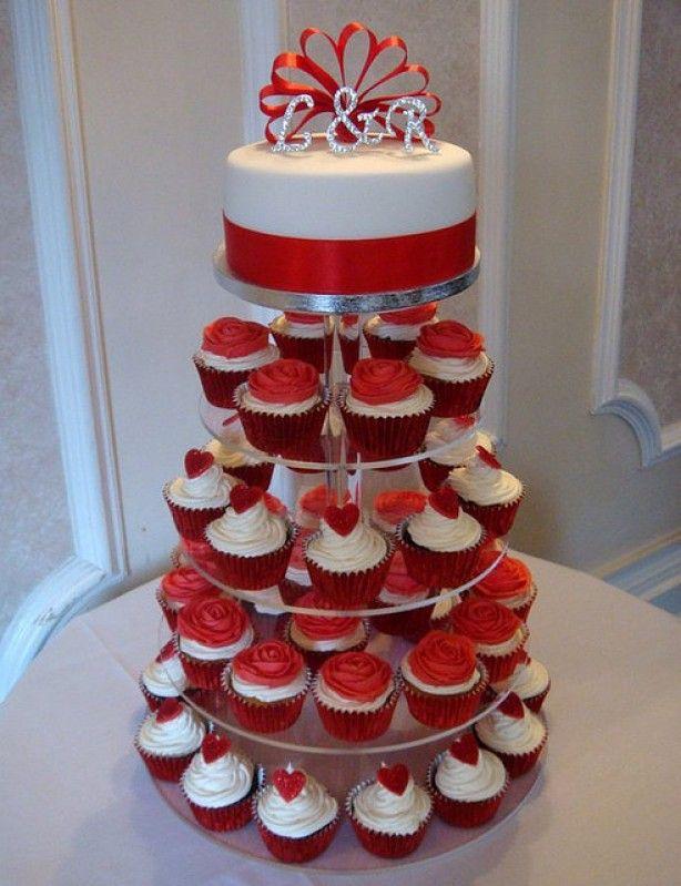 cupcake bruidstaart rood