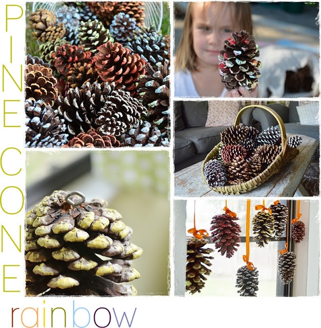 Hang painted pinecones with eyelet screw and ribbon