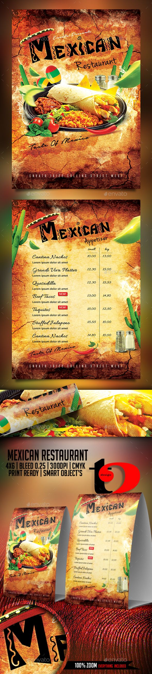 Mexican Restaurant Flyer Template by Take2Design A Cool, and realistic Mexican Restaurant Flyer. Easily editable, highly organized file.. full of design elements, along with profe
