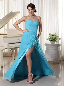 High Slit Elastic Woven Satin Angel Prom Attire with Brush Train in Aqua Blue