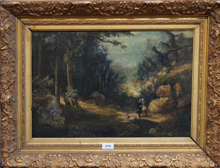 Mogelijk Franse of Duitse school 19e eeuw, olieverf paneel, figuren met hond op bospad