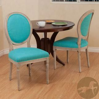 Shop Queen Anne Desk Chair Set Free Shipping Today >> Christopher Knight Home Queen Anne Teal Fabric Dining Chairs