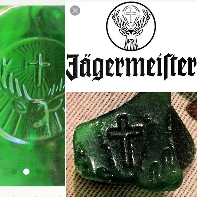 Reposting this shard I found recently, with the help of @thisrocktoday I was able to get a close match to a Jagermeister limited edition bottle that was produced only about 5 years ago. #masseaglass #seaglassid #jagermeister #cross #seaglasslove