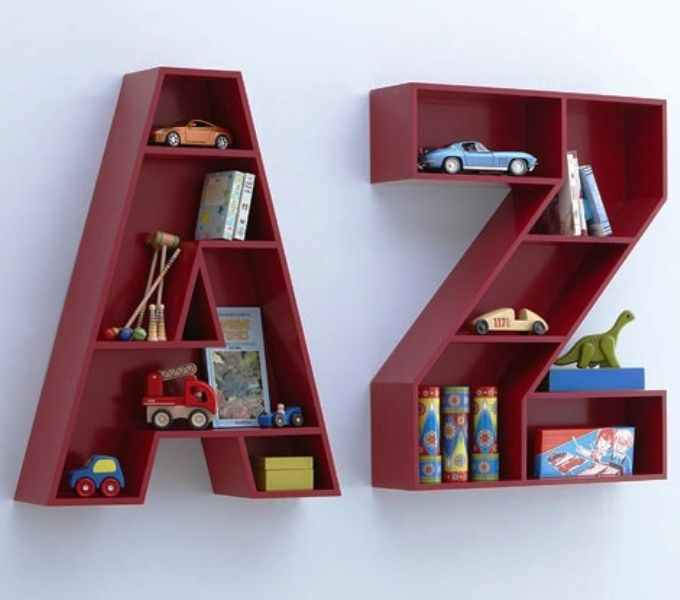 Letter shelves one for aimee and one for baby to put their special things