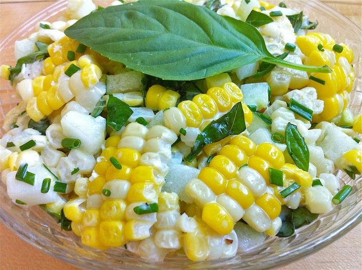 Corn and Cucumber Salad with Basil and Chives — One of the easiest recipes EVER and no one ever tires of it!