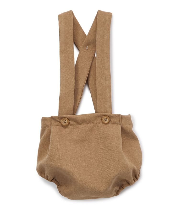 Brown Button Suspender Bloomers - Infant