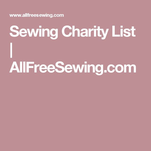 Sewing Charity List | AllFreeSewing.com