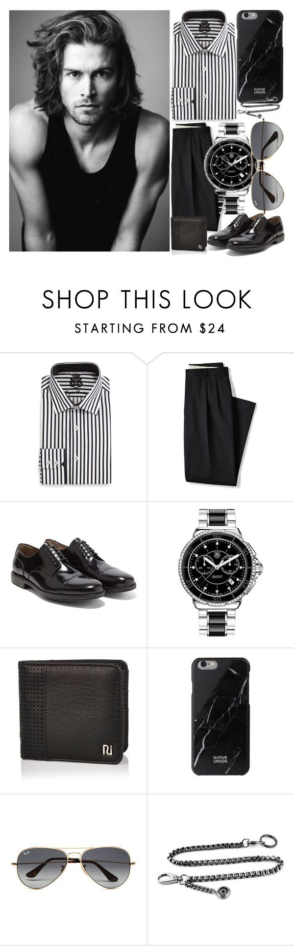 """Monday Work Outfit for Men: 04/04/16"" by pinky-chocolatte ❤ liked on Polyvore featuring English Laundry, Merrell, Lands' End, Salvatore Ferragamo, TAG Heuer, River Island, Native Union, Ray-Ban, men's fashion and menswear"