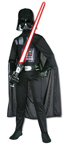 With this Darth Vader costume, your child can be the chosen one who gets turned by the dark side. Now they will be the father!. Star Wars Child's Darth Vader Costume, Medium. Hard plastic Darth Vader mask with Printed Darth Vader jumpsuit. 100% Polyester. Medium fits 50-54 Inch tall Children with Waist 27-30 Inch, Chest 29-32 Inch and Hips 29-32 Inch.