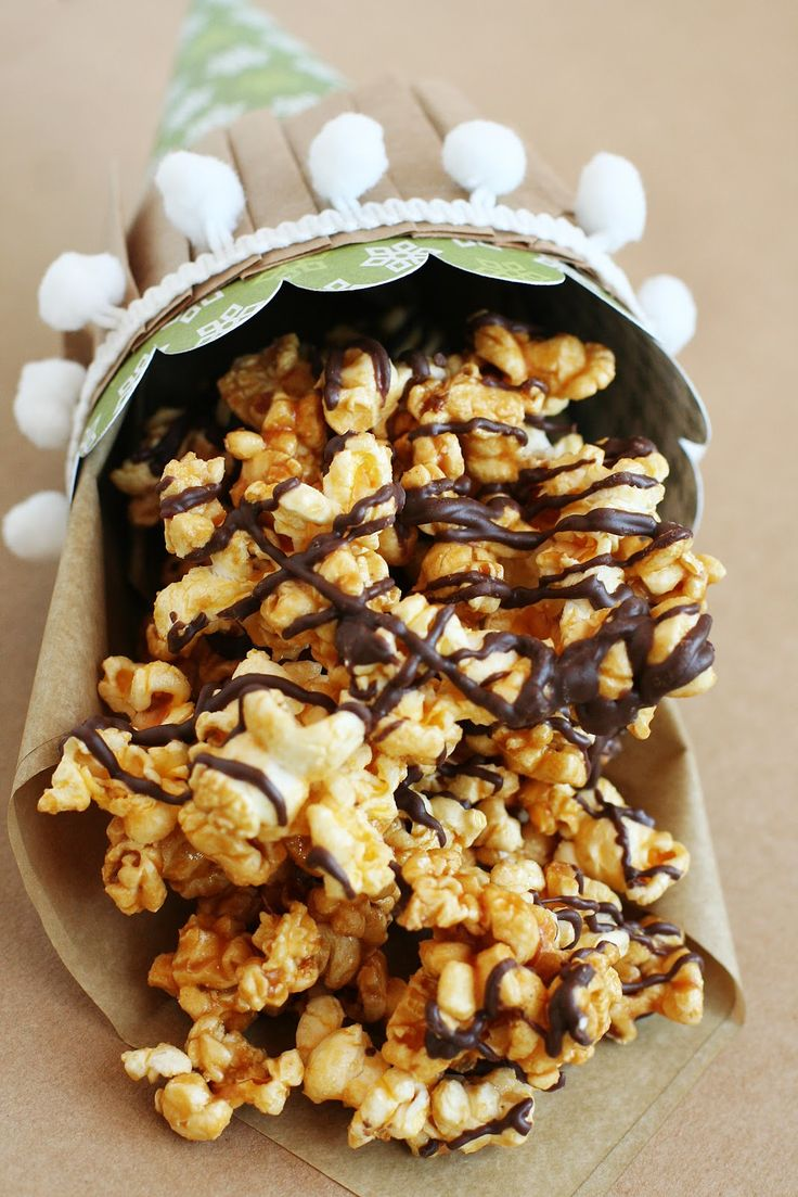 Microwave Chocolate Drizzled Caramel Popcorn — A Southern Fairytale