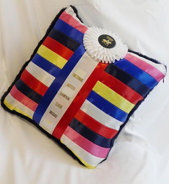 Horse Show Ribbon / Rosette Pillow Cushion with Plush / Faux