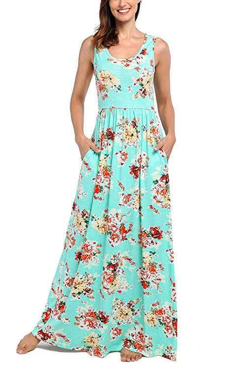 c02d8a909cc22 Comila Women's Summer Sleeveless Floral Tank Maxi Dress Casual Long Dress  Pocket at Amazon Women's Clothing store: