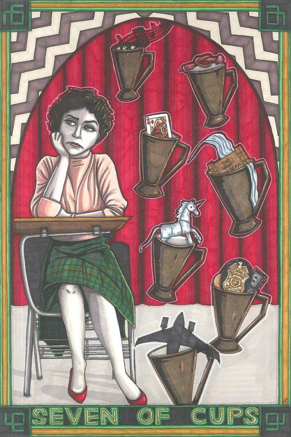 Twin Peaks Tarot postcard PRINTS set 40 cards by MaiafirePrints