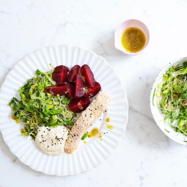 Sesame Crusted Salmon with Sprouts and Baby Gem Salad