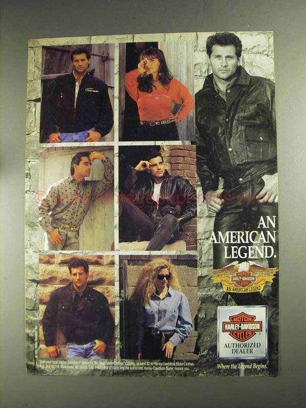 1992 Harley Davidson Motorclothes Ad American Legend Mit Bildern