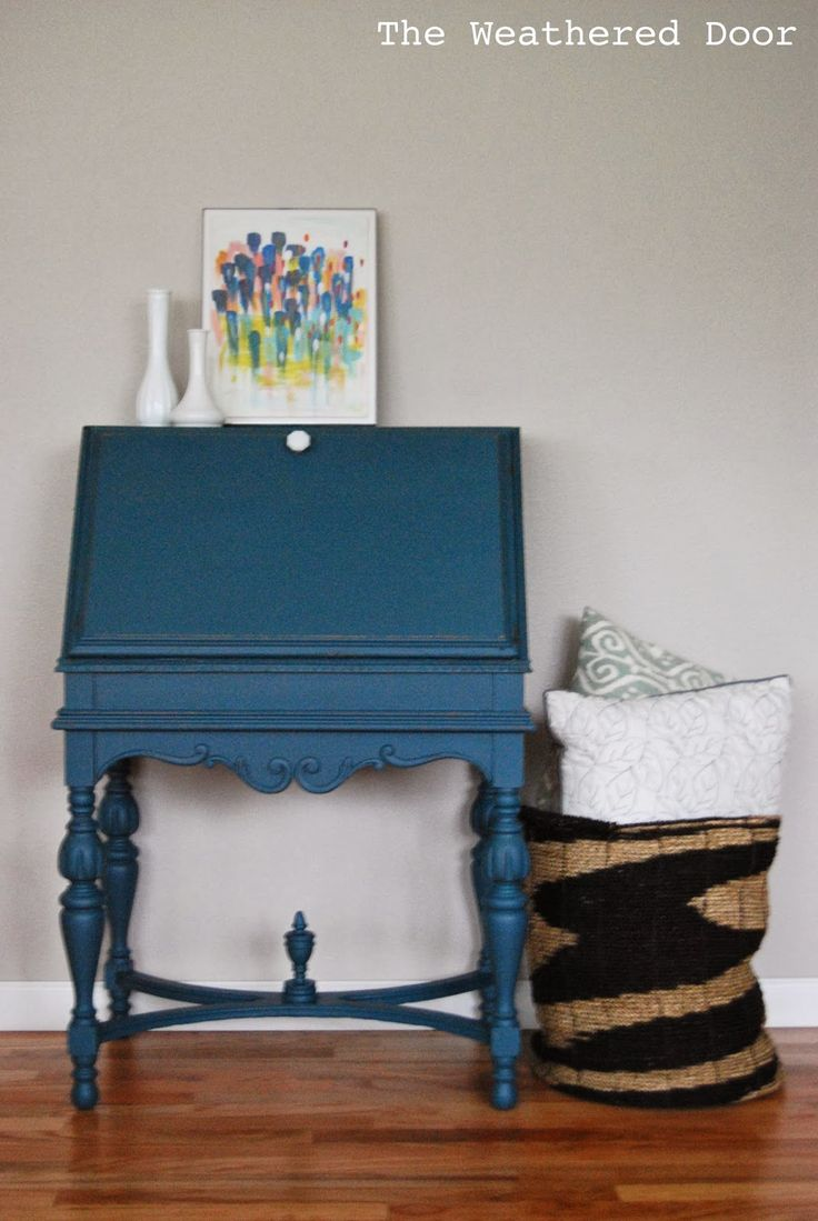 An antique secretary desk in a deep teal – The Weathered Door