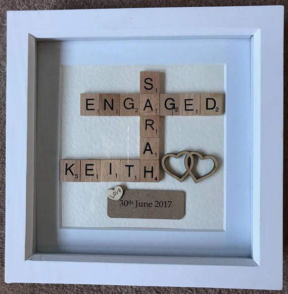 Engagement Wedding Personalised Scrabble Box Frame Gift