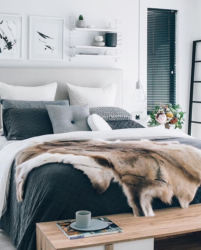 Our favourite bedroom, the amazing home of Tarina @oh.eight.oh.nine  featuring our light grey button cushion, obsessed over this lovely ladies home