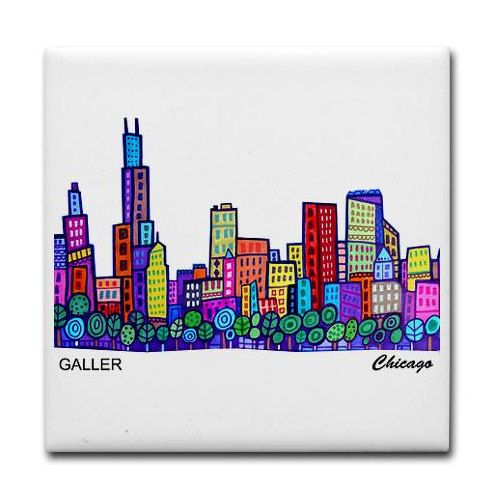 Xmas Delivery Available- Chicago art tile print on ceramic by Heather Galler abstract city folk Art