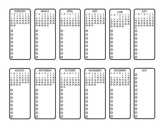 Bullet Journal Printable Future Planning with 2017