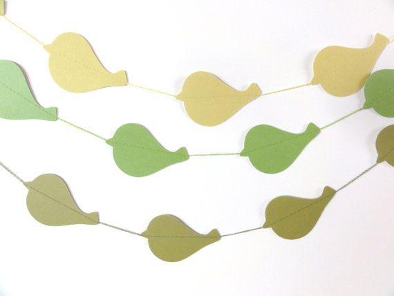Olive Textured Paper Bird Garland Party Banner 9 by ShastaBlue, $7.00