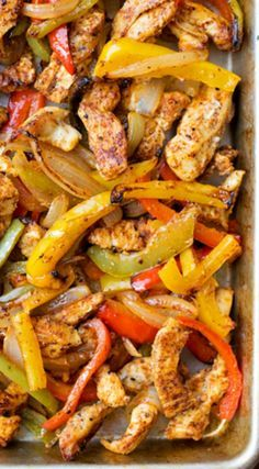 Sheet Pan Chicken Fajitas  ~ These easy, flavorful, sheet pan chicken fajitas are sure to become a favorite... They're oven-roasted to perfection!