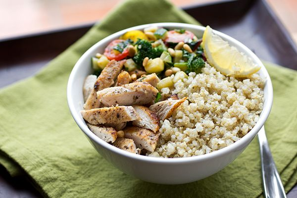 Post image for A Cozy Resolution: Chicken & Quinoa Bowl with Veggies, And Losing That Christmas Cushion