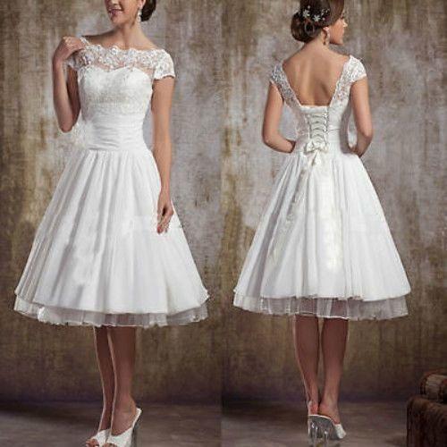 New White Ivory Lace Short Wedding Dress Bridal Gown Custom Size6 8 10 12 14 16 | eBay